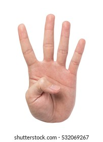 Hand sign theme sets. Hand number four.