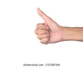 Hand signal - thumb up, on white background