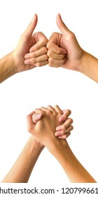 Hand signs, co operate business group and united to success, friendship and teamwork.