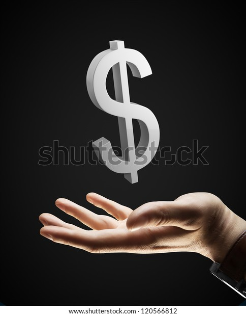 hand and silver dollar sign