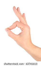 Hand simulating Ok sign isolated on a white background
