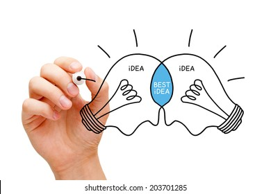 Hand sketching Best Idea light bulbs concept with black marker. Teamwork makes the best ideas.