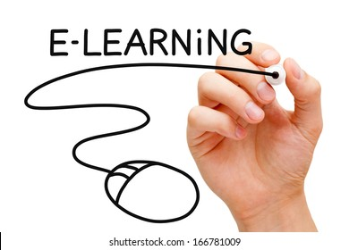 Hand sketching E-learning Mouse Concept with black marker on transparent wipe board.