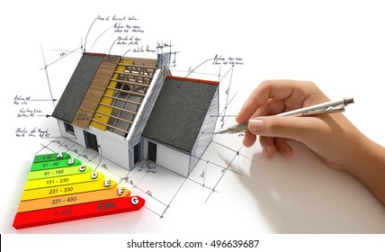 Hand sketching on an energy efficiency project