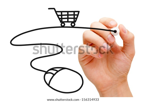 Hand sketching Online Shopping Concept with black marker on transparent wipe board.