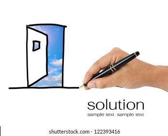 Hand sketching opened door for solution concept
