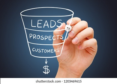 Hand sketching sales or revenue funnel marketing concept with white marker on transparent wipe board.