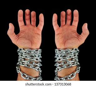 a hand of slave with chains