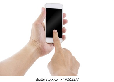 Hand slide and Touch on white Smartphone with blank screen on white background