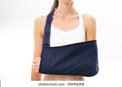 Hand in a sling. Woman with hand in the dressing orthopedic