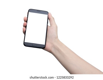 hand with smart phone of  Asia girl on white back ground isolate, touch on screen by finger and hold by hand with clipping path.