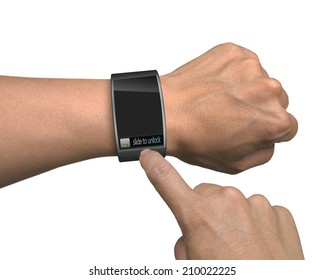 hand with smart watch and finger touch screen isolated in white background