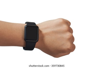 Hand with a smart watch on white background