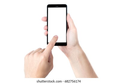 Hand with smartphone showing on screen isolated on white backgro