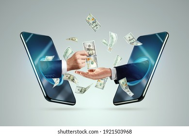 Hand from a smartphone transfers money to another hand. Online money transactions, mobile payments using a smartphone. Concept Financial growth, passive income, online business, dividends