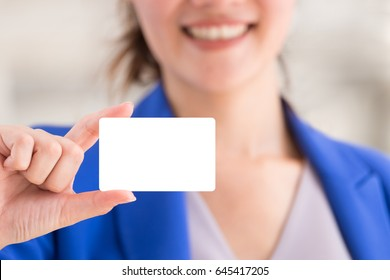 Hand of smile woman showing blank white copy space card. Credit debit card for easy shopping use for buy product.