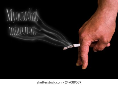hand with smoke cigarette isolated on a black background, symbolizing myocardial infarction