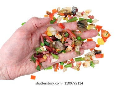 hand sorting miniature pieces of food waste so as not to throw away the good ones. Isolated on white studio macro  concept
