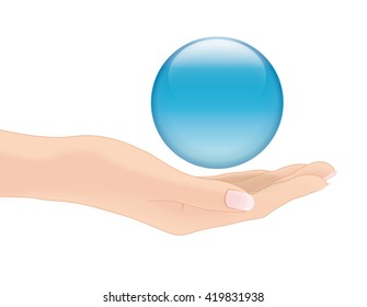 hand and sphere
