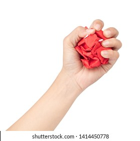 Hand Squeezing Crumbled paper isolated on a white background