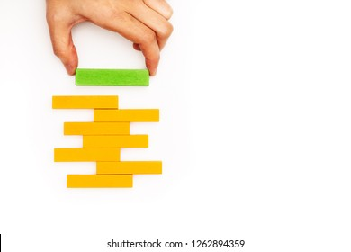 hand stacking wooden block with copy space