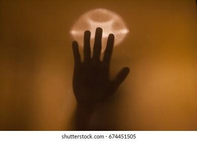 Hand stick on glass