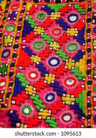 hand stitched design on a cloth Indian Art