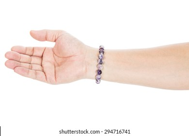 hand with stone bead bracelet isolated on white