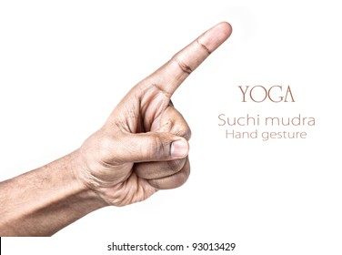 Hand in Suchi mudra by Indian man isolated at white background. Free space for your text