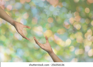 Hand to and support each other.