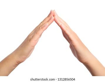 Hand symbol shape of house roof isolated on white background