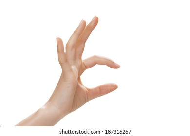hand symbol that means catch, isolated on white background