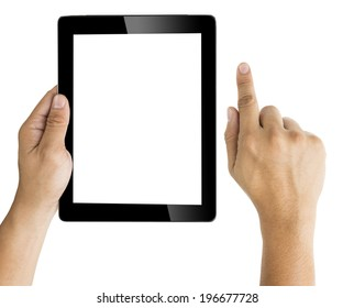 hand with tablet  isolated on white point action