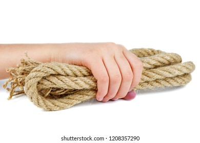 Hand take coarse rope isolated on white background