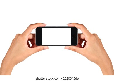 hand taking camera from mobile phone isolated white
