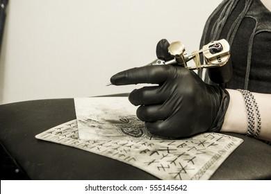 Hand Tattoo Artist Holding Tattoo Machine Stock Photo Edit Now