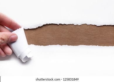 Hand tear a strip of paper,copy space for your text.