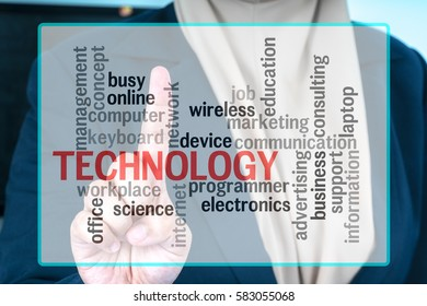 Hand with text. Technology concept.