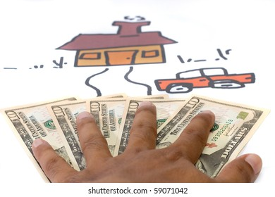 a hand that show the money with home drawing background