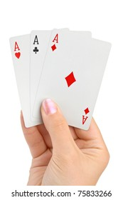 Hand with three aces isolated on white background