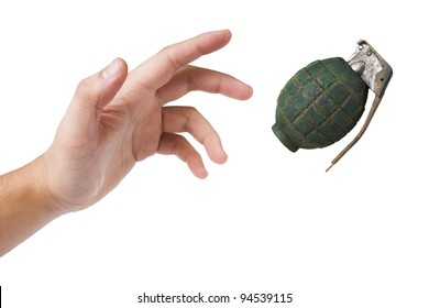 hand throwing a grenade isolated on white