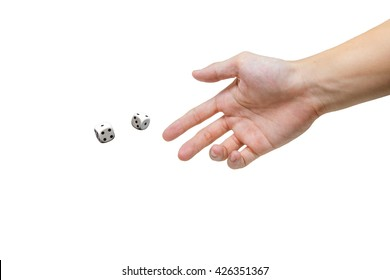 Hand throwing two dices on white background