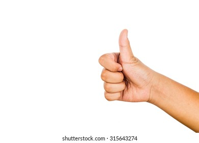 Hand with thumb up against white background