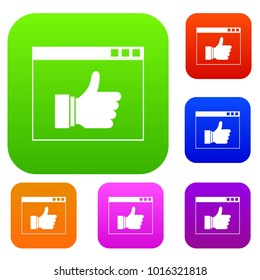 Hand with thumb up in browser set icon in different colors isolated  illustration. Premium collection