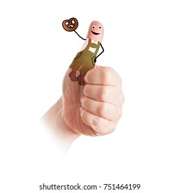 a hand- the thumb is colored and shows a person with a costume and with a brezel