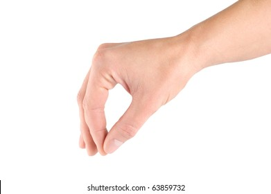 Hand with thumb and forefinger together simulating holding or picking something up, isolated on white background.