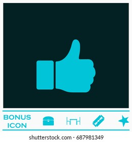 Hand Thumb Up icon flat. Simple blue pictogram on dark background. Illustration symbol and bonus buttons