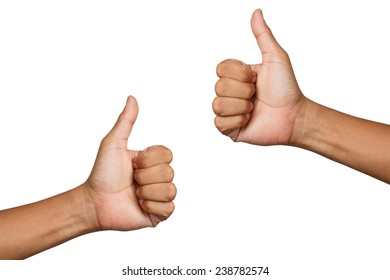 hand thumb up isolate on white clipping path