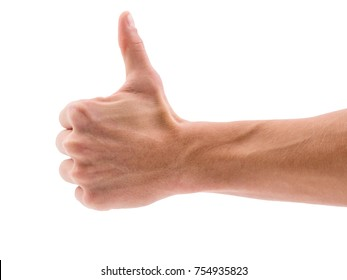 Hand with thumb up on white isolated background
