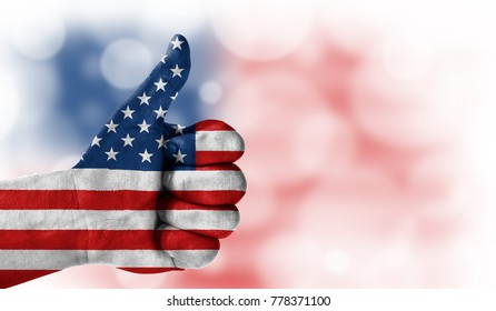 hand thumbs up, flag of america. - Shutterstock ID 778371100